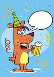 Festive greeting card, dog and beer, bubble, creative vector illustration. Colored picture. Hand drawing of funny dog with glassful with beer Stock Image