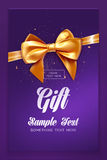 Festive greeting card or flyer with bow and ribbon. Vector illustration Royalty Free Stock Image