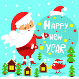 Festive greeting card. Happy new year. Happy Santa Claus. Vector Royalty Free Stock Images