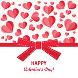 Festive greeting card Happy Valentine`s Day and many hearts, bow. Vector illustration.  Royalty Free Stock Images