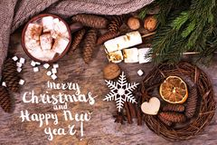 Festive Greeting Card Merry Christmas and Happy New Year. Text with christmas decoration design royalty free stock photography