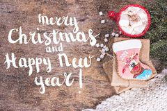 Festive Greeting Card Merry Christmas and Happy New Year royalty free stock photo