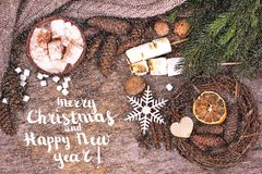 Festive Greeting Card Merry Christmas and Happy New Year stock photo