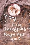Festive Greeting Card Merry Christmas and Happy New Year stock images