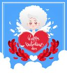 Festive greeting card to the day of St. Valentine`s Day with Cupid. Vector illustration Royalty Free Stock Photos
