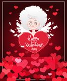 Festive greeting card to the day of St. Valentine`s Day with Cupid. Vector illustration Royalty Free Stock Photo
