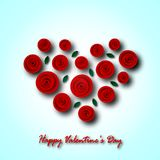 Festive greeting card for Valentine`s day. For recognition. Heart from flowers of a rose of red color and green leaves with shadows on a blue background. Paper Royalty Free Stock Images