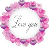 Purple and pink hearts border for valentines day designs. Circle shape card template. Festive greeting card for Valentines Day with calligraphic text Love you on stock illustration