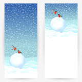 Festive greeting cards with bullfinches and congratulations Royalty Free Stock Photo