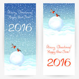 Festive greeting cards with bullfinches and congratulations. Festive greeting cards with bullfinches, snowballs at snowy background, with wishes of a Merry Royalty Free Stock Image