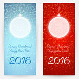 Festive greeting cards with Christmas balls. Two festive greeting cards in blue and red colors with decorative ornamental Christmas balls. Merry Christmas and Royalty Free Stock Photography