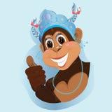 Festive greeting. Monkey symbol of the new year Stock Images