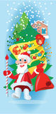 Festive greeting. Santa Claus and the house Royalty Free Stock Photography