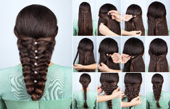 Festive hairstyle for long hair tutorial. Hair tutorial. Festive hairstyle voluminous braid tutorial. Backstage technique of weaving plait. Hairstyle. Pull Stock Photos