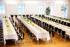 Festive Hall With Decorated Tables Royalty Free Stock Photos