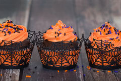 Festive Halloween cupcakes Stock Images