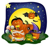 Festive Halloween graphic. With pumpkins, spider, bats, and other spooky symbols Royalty Free Stock Image