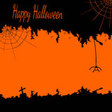 Festive Halloween postcard with cobwebs and a spider in black and orange colors Stock Images