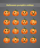 Festive Halloween pumpkin emoticons. For forums on a gray background Royalty Free Stock Images