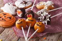 Festive Halloween sweets close-up on the table. horizontal Stock Photography