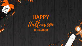 Festive Halloween web banner template. Top view on spiders, paper bats and confetti on dark wooden texture. Vector illustration with black gift box in the form Royalty Free Stock Image