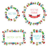 Festive hand drawn frames. Vector frames of sketch gifts. There is place for your text Royalty Free Stock Image