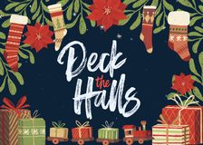 Deck the Halls Christmas Card Template. Festive hand drawn and hand lettered Christmas card template with stockings, mistletoe, gifts and toy train vector illustration