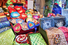 Festive handmade ties and flower brooches during Riga Christmas market Royalty Free Stock Photo