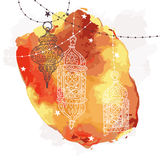 Festive hanging watercolor arabic lamps. Royalty Free Stock Photography