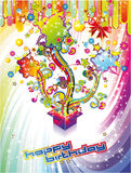 Festive Happy Birthday Background. Happy Birthday Colorful Background with Abstract Flower and Fantasy Elements Royalty Free Stock Image
