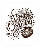 Festive Happy Birthday. Modern Retro popular design style. Vintage style 20s, 60s. Monochrome brown posters, stamps, signs. Script, sans serif fonts typography Royalty Free Stock Image