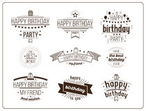 Festive Happy Birthday set. Festive Happy Birthday monochrome set. Modern Retro popular design style collection. Vintage images 20s 60s Old-fashioned packaging Royalty Free Stock Photography