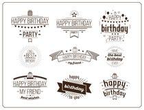 Festive Happy Birthday set Royalty Free Stock Photography