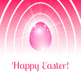 Festive Happy Easter card with stylized pink egg in light rays a. Nd bokeh particles and inside many of the white outlines of the eggs Royalty Free Stock Photos