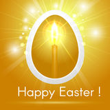 Festive Happy Easter greeting card with stylized Golden egg with Stock Photo
