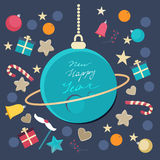 Festive Happy New Year card design. Festive Happy New Year  card design with a blue planet bauble with the written greeting surrounded by scattered ornaments Stock Photo