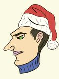 Festive head. The head of the man in a New Year's cap Stock Photos