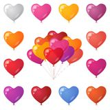Festive heart shaped balloons, set Royalty Free Stock Image