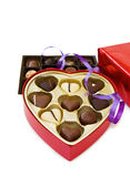 Festive heart shaped box of chocolates Royalty Free Stock Image