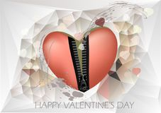 Festive heart. T con zipper on abstract grunge background Royalty Free Stock Photo