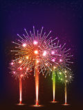 Festive holiday background with colorful fireworks. Stock Photography