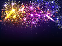 Festive holiday background with colorful fireworks. Stock Photo