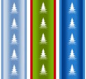 Festive Holiday Christmas Tree Borders. A clip art illustration of your choice of 3 holiday Christmas borders featuring Christmas trees in a variety of festive Royalty Free Stock Image