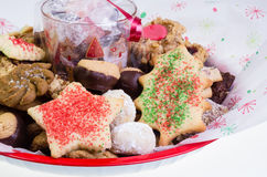 Festive holiday cookie tray Stock Photography