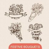 Festive holiday flower bouquets collection. Sketch design elements. Hand drawn vintage style. Eps 10 vector illustration Royalty Free Stock Image