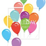 Festive holiday template with colorful balloons and square cutout frame. Birthday party invitation. Vector Royalty Free Stock Image
