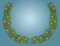 Festive Holly Bough. Vector graphic holly bough with gradient blue background Stock Image