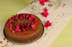 Festive honey cake with flowers Royalty Free Stock Photography