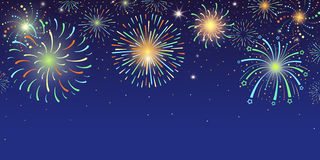 Festive horizontal banner with bright colorful firework lights exploding at night sky. Vector illustration Royalty Free Stock Photo