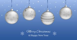 Festive horizontal banner or Christmas New Year card.. Festive horizontal banner or Christmas New Year card. Realistic silver balls on a blue background. You Stock Photo